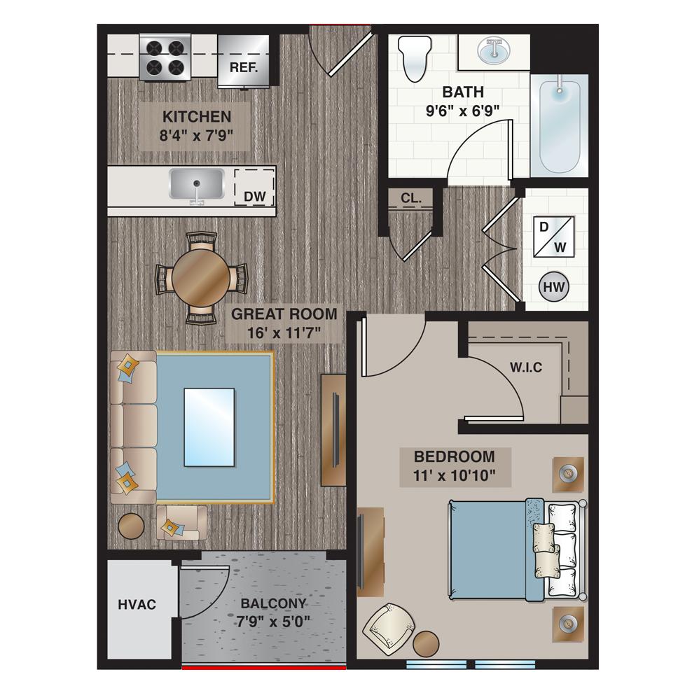 Alpine 1-bedroom, 1-bath 694 sq. ft.