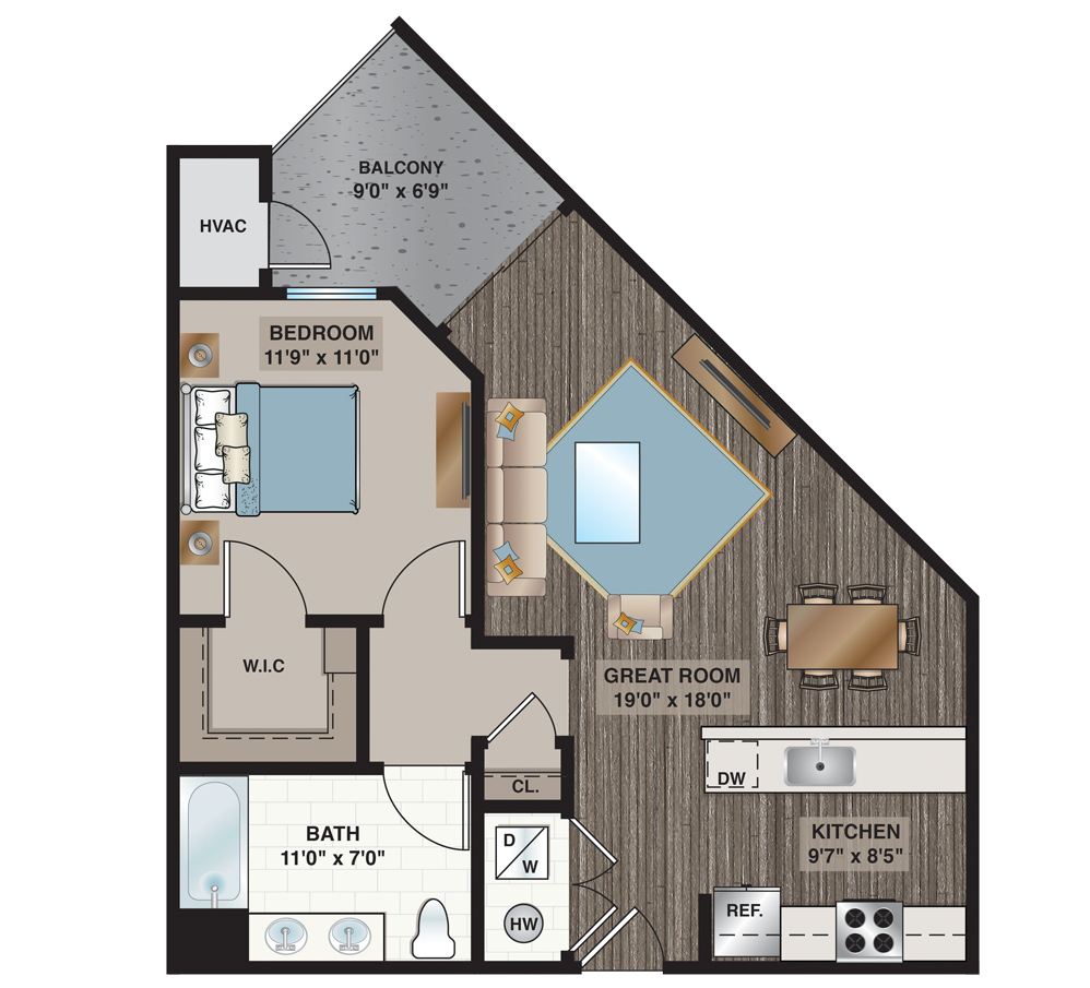 Davis | 1-bedroom, 1-bath 739 sq.ft.