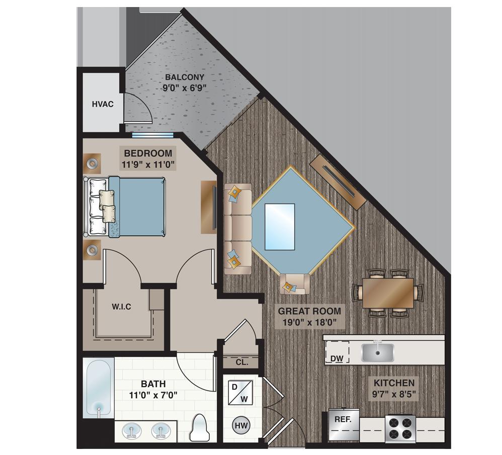Davis | 1-bedroom, 1-bath 739 sq.ft.