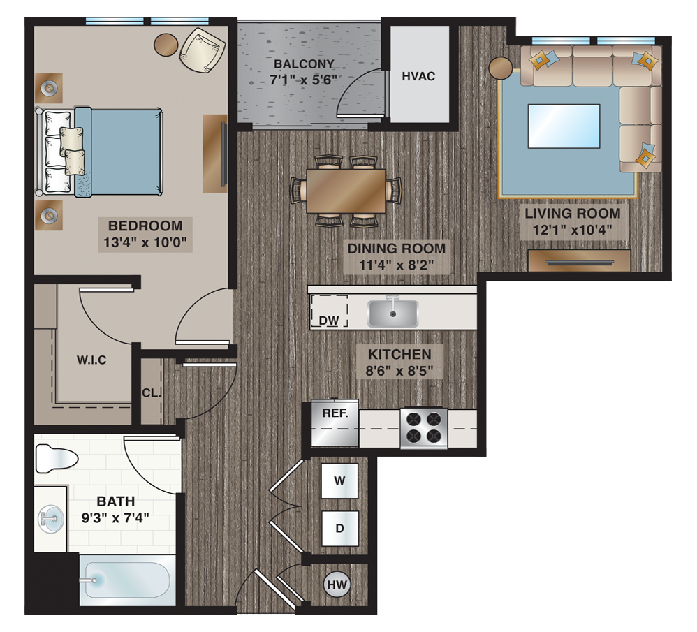 Hoppe | 1-bedroom, 1-bath 783 sq.ft.