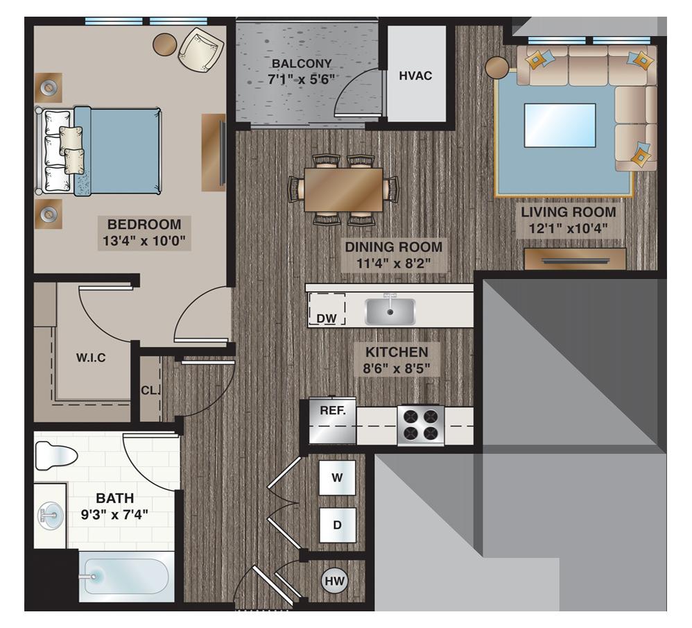 Hoppe | 1-bedroom, 1-bath 783 sq.ft.