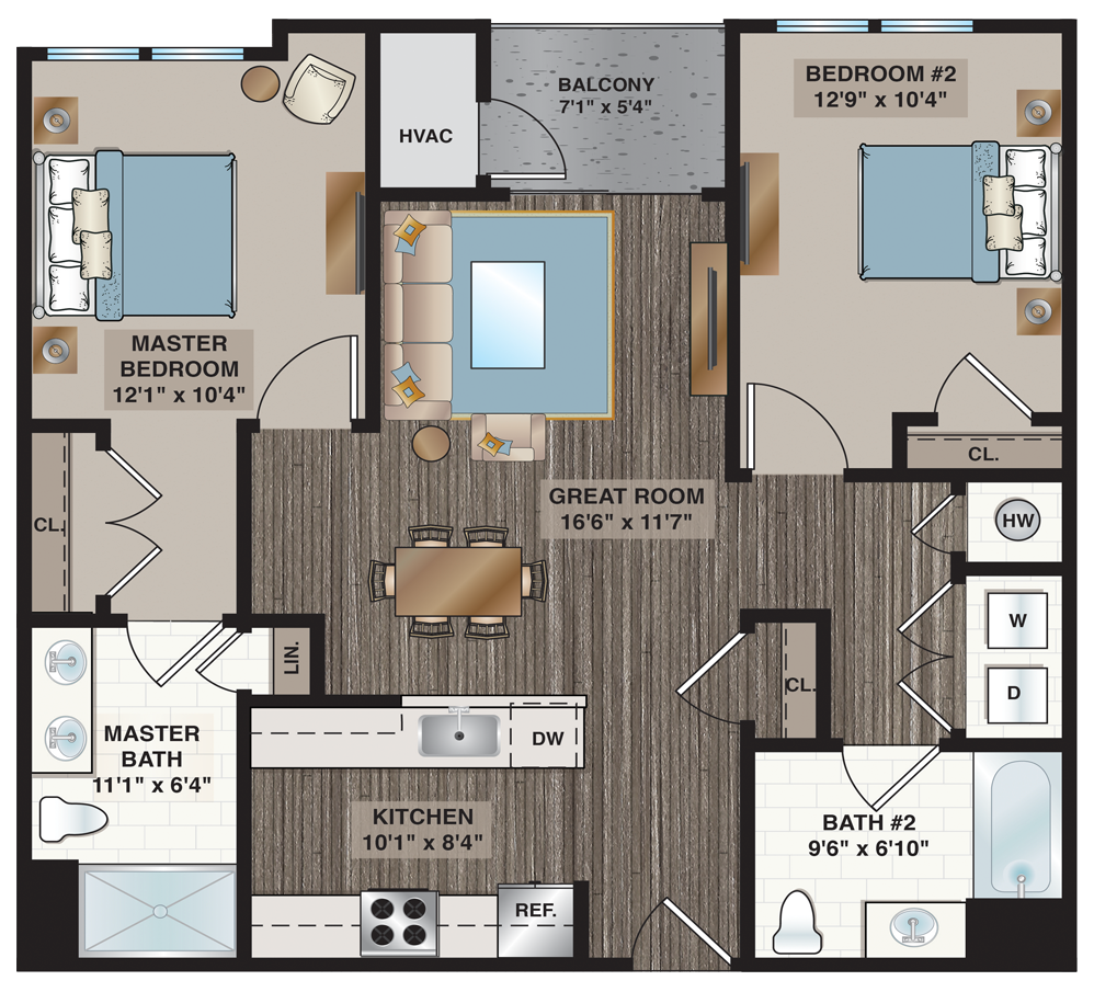 Collins | 2-bedroom, 2-bath 1,003 sq.ft.