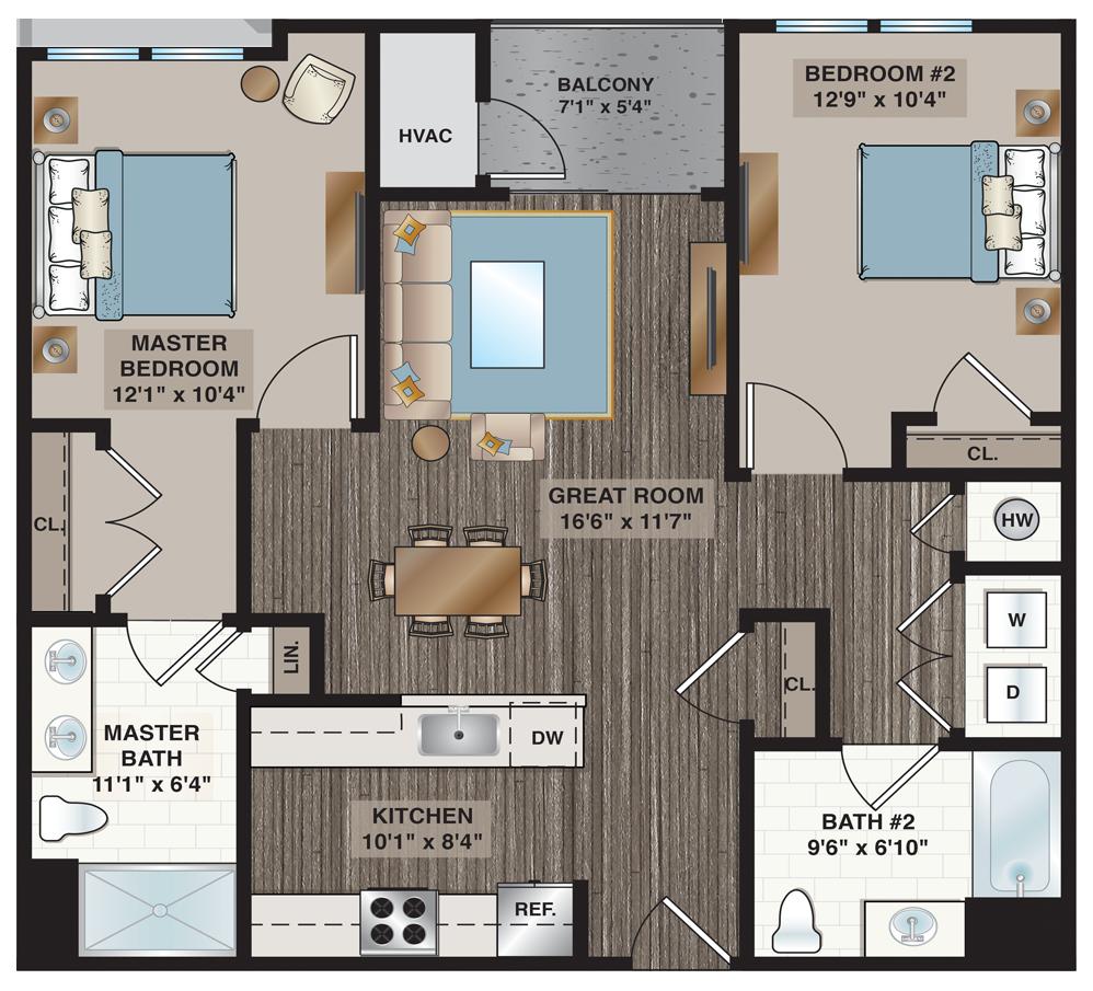 Collins | 2-bedroom, 2-bath 1,003 sq.ft.