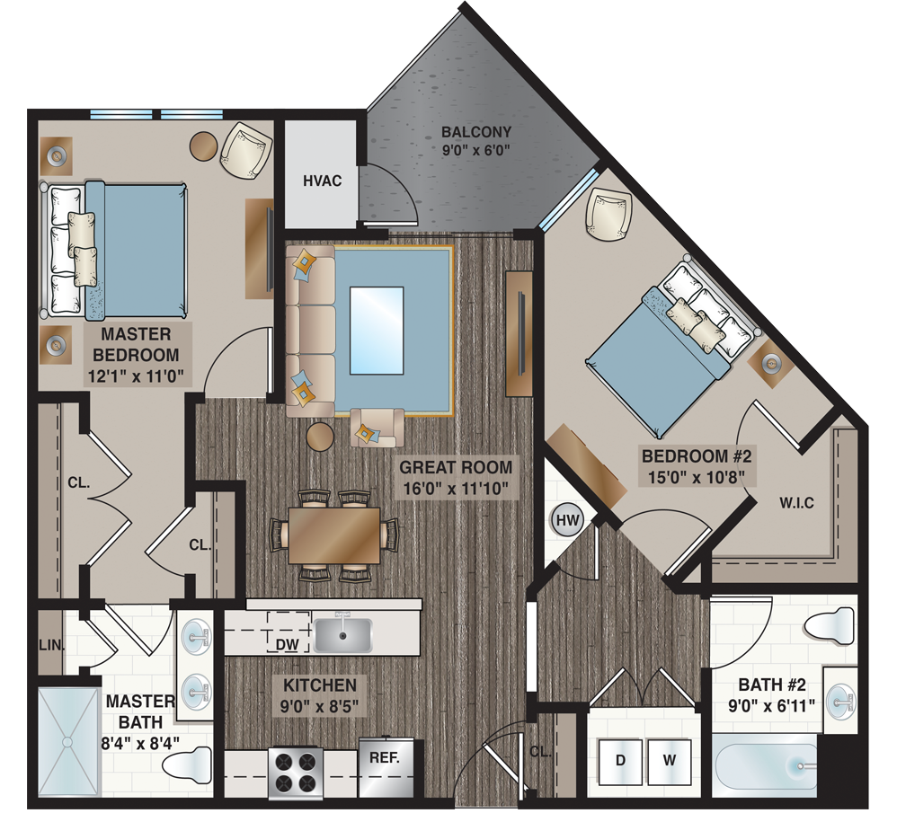 Weber | 2-bedroom, 2-bath 1,063 sq.ft.