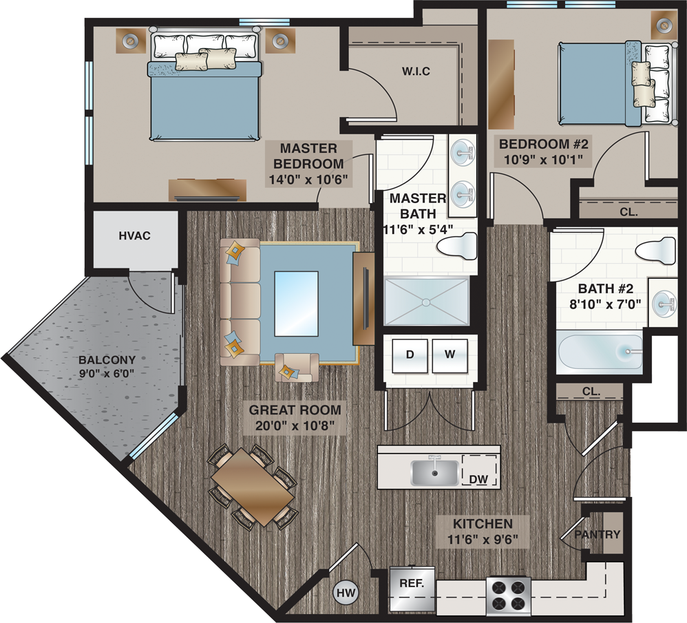 Crystal | 2-Bedroom, 2-Bath 1,140 sq.ft.