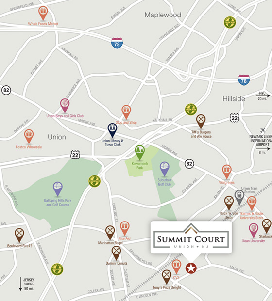 Summit Court Union Luxury Apartments Area Map