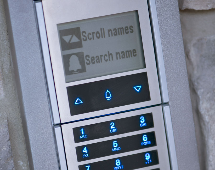 home security system with screen for names