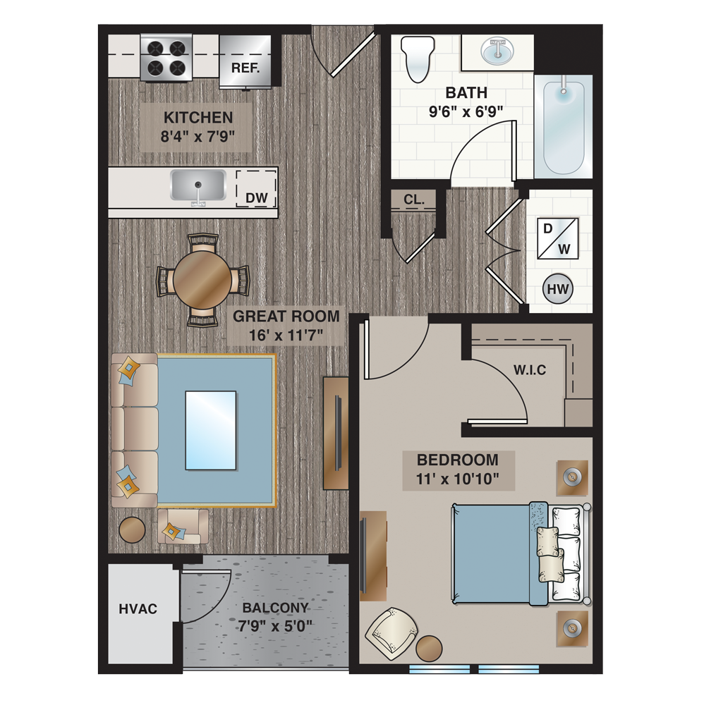 one bedroom one bathroom apartment floorplan