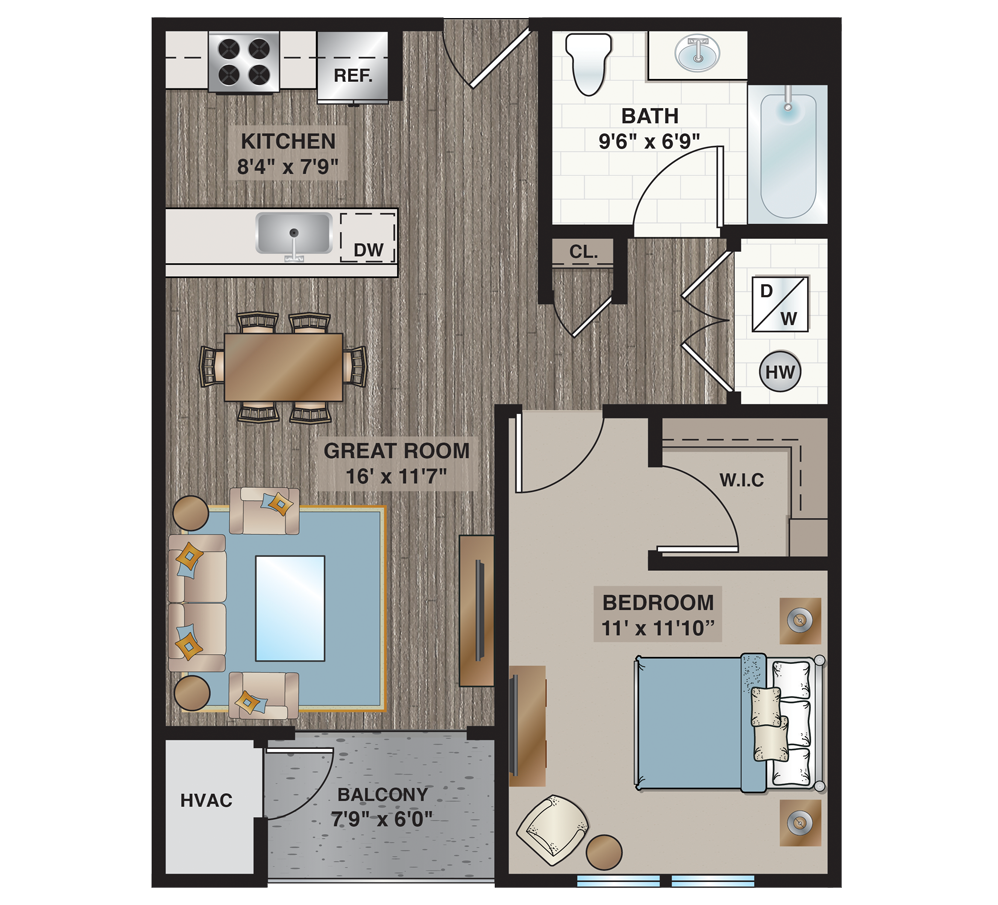 apartment floorplan with one bedroom and one bathroom