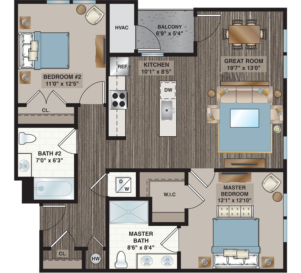 apartment floorplan with two bedrooms and two bathrooms