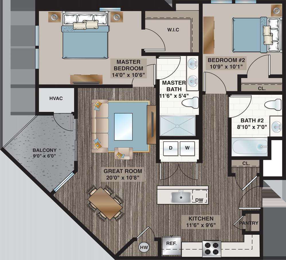 Crystal | 2-Bedroom, 2-Bath 1,140 sq.ft.