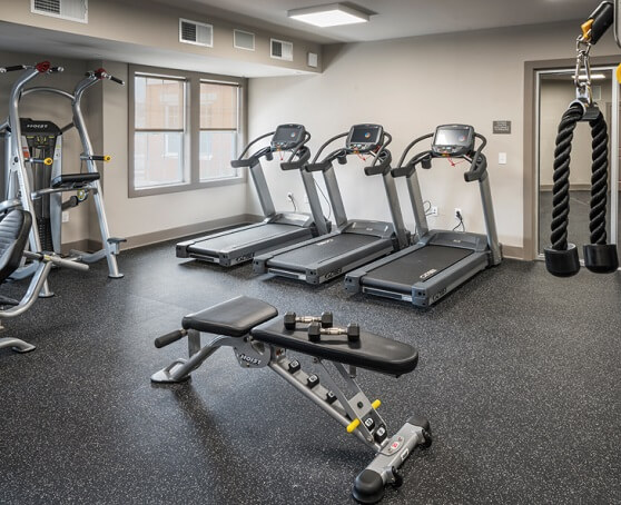 Apartment fitness center with exercise equipment