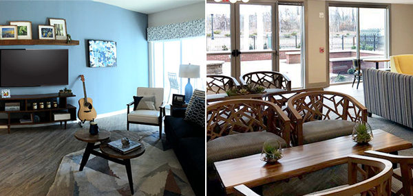 double view of 2 rooms with table chairs and couches
